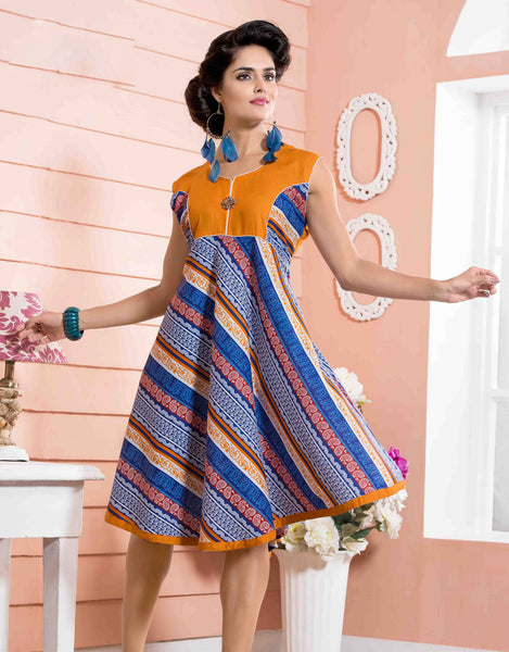 Designer tops:atisundar appealing Rayon Designer Printed Tops in Orange - 6905 - atisundar - 2 - click to zoom