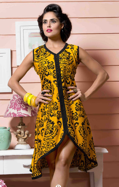 Designer tops:atisundar Beautiful Rayon Designer Printed Tops in Yellow - 6925 - atisundar - 2 - click to zoom