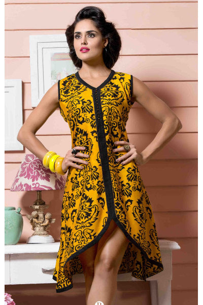 Designer tops:atisundar Awesome Rayon Designer Printed Tops in Yellow - 6926 - click to zoom