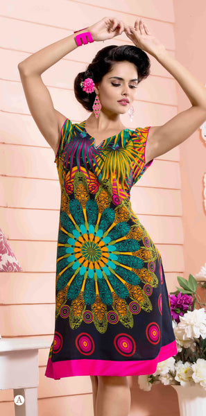 Designer tops:atisundar Great Rayon Designer Printed Tops in Multi - 6935 - click to zoom