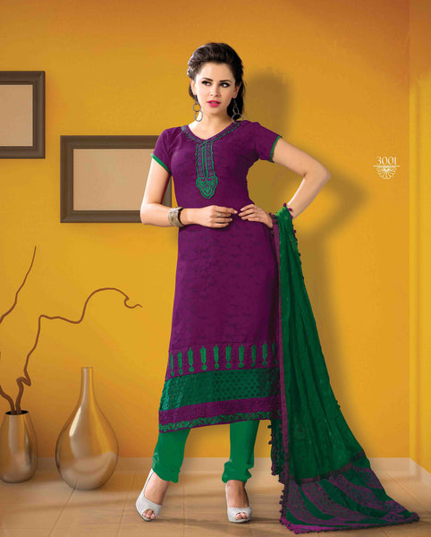 Designer Embroidered Suits In Jacquard:atisundar appealing   in Purple - 5712 - atisundar - 3 - click to zoom