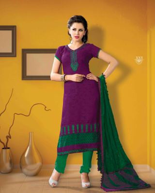 Designer Embroidered Suits In Jacquard:atisundar appealing   in Purple - 5712 - atisundar - 1 - click to zoom