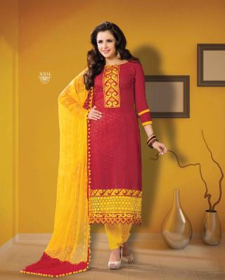 Designer Embroidered Suits In Jacquard:atisundar wonderful   in Red - 5715 - atisundar - 1 - click to zoom