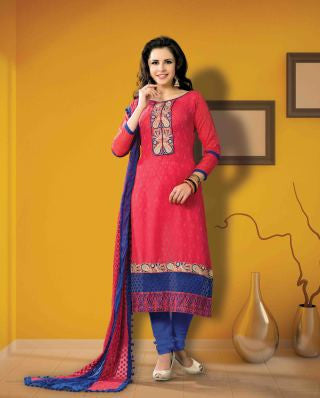 Designer Embroidered Suits In Jacquard:atisundar admirable   in Cherry Red - 5719 - atisundar - 1 - click to zoom