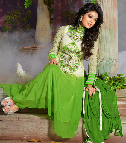Shriya:atisundar cute   in Parrot Green And Cream - 4956 - atisundar - 2 - click to zoom