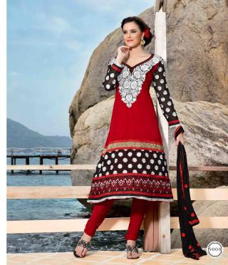 atisundar Ujjwala: Radiant Unstitched Salwar Kameez In Red - 3989 - atisundar - 2 - click to zoom
