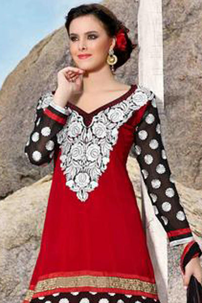 atisundar Ujjwala: Radiant Unstitched Salwar Kameez In Red - 3989 - click to zoom