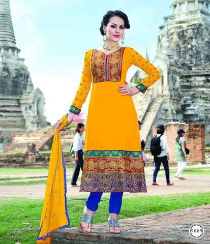 Graceful Embroidered Anarkali Yellow Unstitched Salwar Kameez By atisundar - 3990 - atisundar - 2
