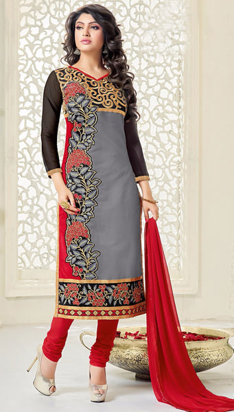 Designer Embroidered Straight Cut Suits:atisundar splendid Grey And Black Embroidered Straight Cut in Chanderi - 9675 - atisundar - 1 - click to zoom