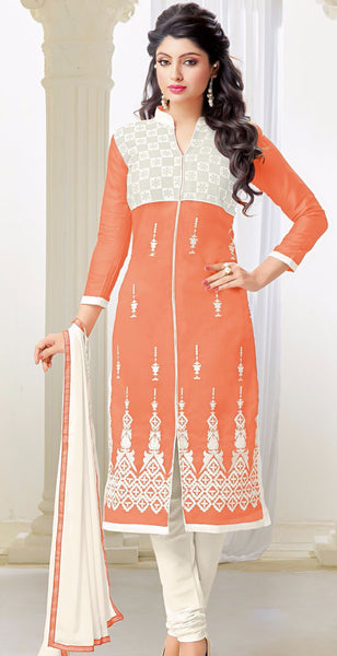 Designer Embroidered Straight Cut Suits:atisundar Great Orange Embroidered Straight Cut in Chanderi - 9676 - atisundar - 1 - click to zoom
