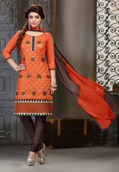 Embroidered Straight Cut Suit:atisundar delightful Orange Designer Straight Cut Embroidered Suits - 7803 - atisundar - 2 - click to zoom