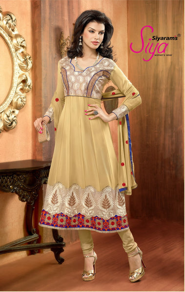 Zareena: Appealing Semi stitched Salwar Kameez In Beige - 4190 - click to zoom