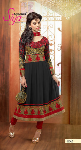 Zareena: Magnificent Semi stitched Salwar Kameez In Black and Red - 4191 - atisundar - 2 - click to zoom