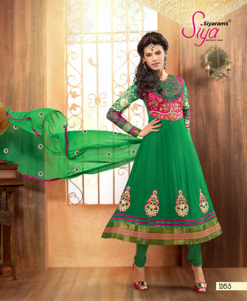Zareena:Resplendent Embroidered Anarkali Green semi stitched Salwar Kameez By atisundar - 4194 - atisundar - 2 - click to zoom