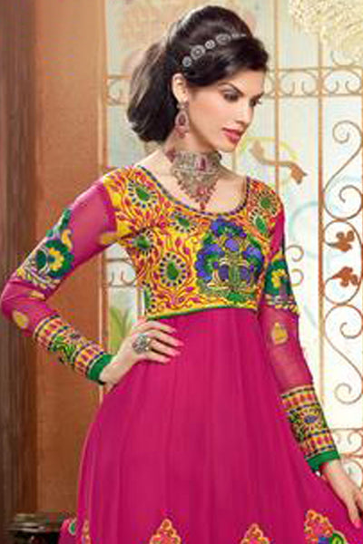 Zareena: Lovely Pink and Yellow Anarkali - 4198 - click to zoom