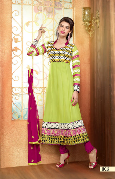 Zareena:Delicate Semi Stitched Salwar Kameez In Green - 4199 - atisundar - 2 - click to zoom