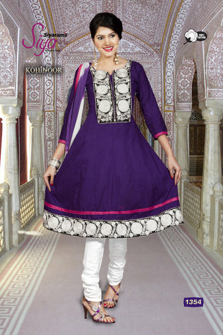 Kohinoor:Fair Designer Embroidered Anarkali Blue Semi stitched Salwar Kameez By atisundar - 4396 - atisundar - 2