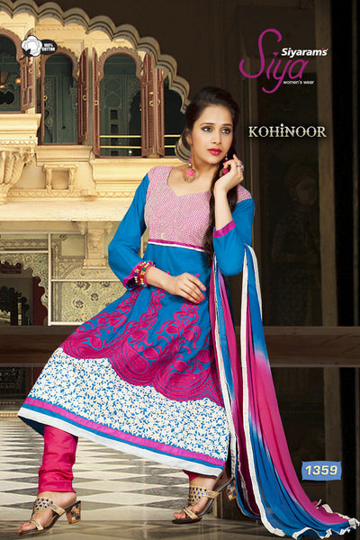 Kohinoor:Wonderful Designer Embroidered Anarkali Sky And Pink Semi stitched Salwar Kameez By atisundar - 4401 - click to zoom