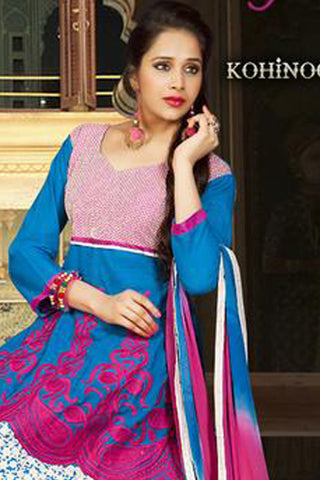 Kohinoor:Wonderful Designer Embroidered Anarkali Sky And Pink Semi stitched Salwar Kameez By atisundar - 4401