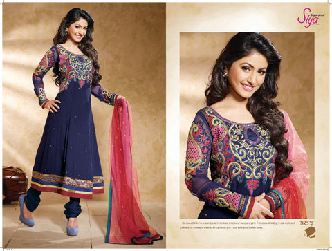 Ravishing Embroidered Anarkali Blue Unstitched Salwar Kameez By Siya - 4122 - atisundar - 3 - click to zoom