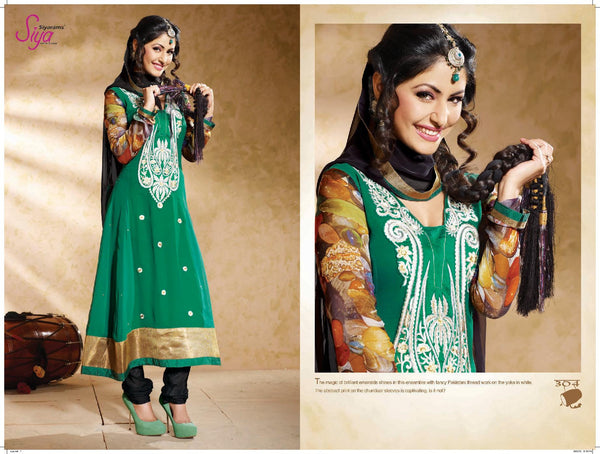 Classy Embroidered Anarkali Green Unstitched Salwar Kameez By Siya - 4124 - atisundar - 4 - click to zoom