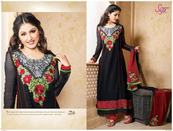 Pretty Embroidered Anarkali Black Unstitched Salwar Kameez By Siya - 4127 - atisundar - 3 - click to zoom