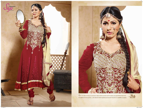 Cute Embroidered Anarkali Red Unstitched Salwar Kameez By Siya - 4128 - atisundar - 3 - click to zoom