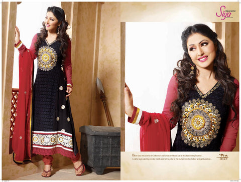 Siya Kamalini: Enticing Unstitched Salwar Kameez In Black - 4130 - atisundar - 3 - click to zoom