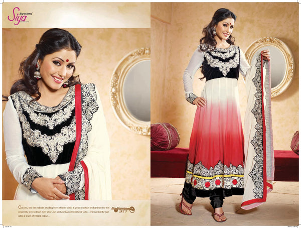 Siya Sushila: Graceful Unstitched Embroidered Anarkali Salwar Kameez - 4137 - atisundar - 3 - click to zoom