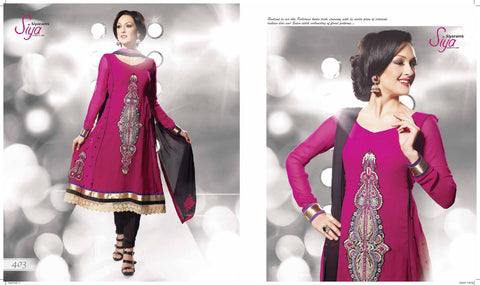 Siya Rukma: Classy Unstitched Embroidered Anarkali Salwar Kameez - 4103 - atisundar - 3 - click to zoom
