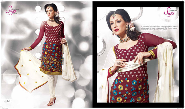 Siya Chandrabhaga: Great Unstitched Salwar Kameez In Maroon - 4110 - atisundar - 2 - click to zoom