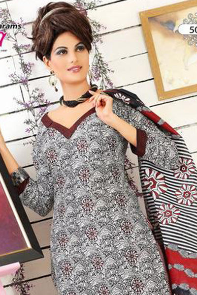 Siya Muskaan Gold:atisundar Kilimoli: Charming Unstitched Salwar Kameez In White Printed - 4332 - click to zoom