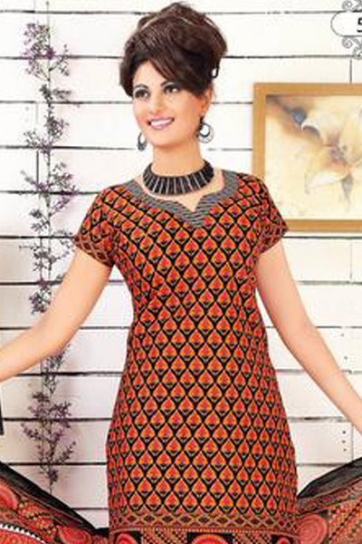 Siya Muskaan Gold:atisundar Puja: Beautiful Unstitched Salwar Kameez In Orange - 4337 - click to zoom