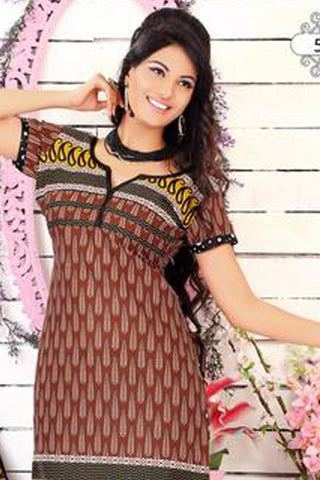 Siya Muskaan Gold:atisundar Kavya: Charming Unstitched Salwar Kameez In Brown - 4341