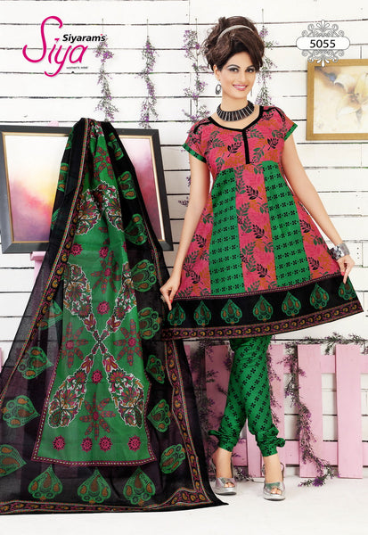 Siya Muskaan Gold:Gorgeous Designer Cotton Printed Salwar Suit Pink And Green Unstitched Salwar Kameez By atisundar - 4344 - atisundar - 3 - click to zoom