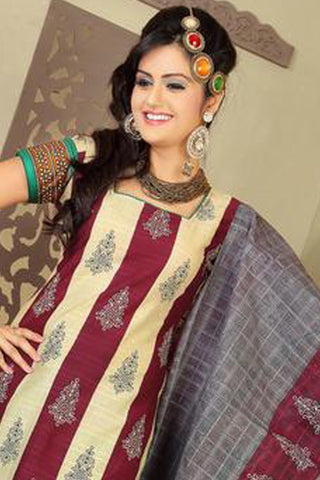 Siya Ayesha:Beauteous Designer Cotton Printed Salwar Suit Maroon And Cream Unstitched Salwar Kameez By atisundar - 4370