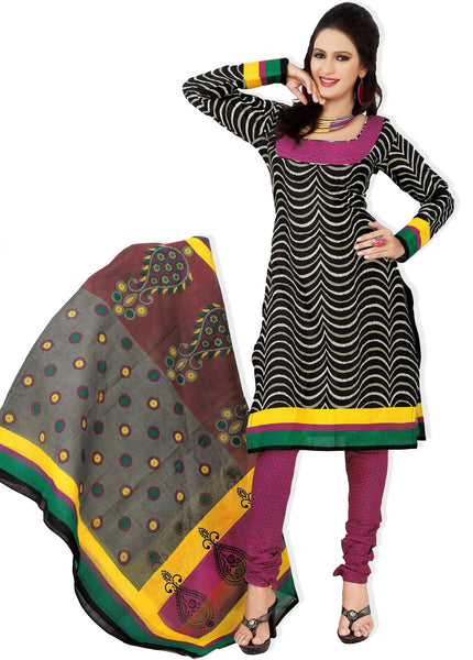 Designer Printed Cotton Unstitched Suit:atisundar graceful   in Black And Pink - 5516 - atisundar - 2 - click to zoom