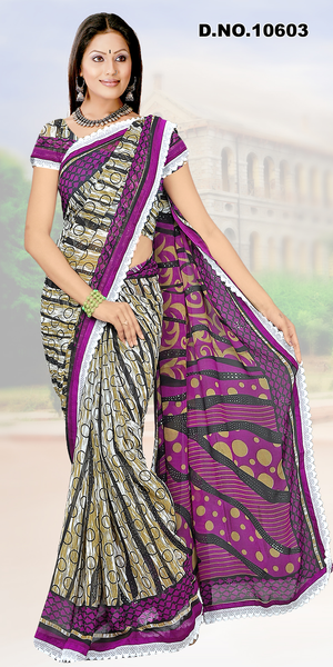 atisundar Mausumi: Attractive Purple Colored Saree In Faux Georgette - click to zoom