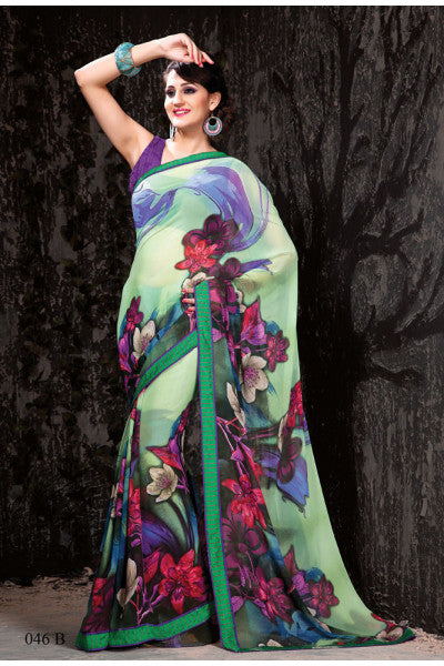 Designer Printed Daily Desires In Faux Georgette:atisundar dazzling Designer Printed Daily Desires In Faux Georgette in Light Green-5911 - click to zoom