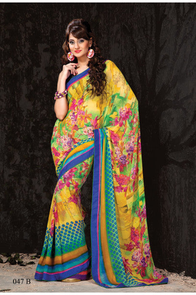 Designer Printed Daily Desires In Faux Georgette:atisundar pretty Designer Printed Daily Desires In Faux Georgette in Yellow -5913 - click to zoom