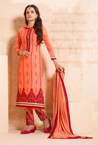 Designer Straight Cut:atisundar delightful Orange Designer Straight Cut  - 8331 - atisundar - 1 - click to zoom