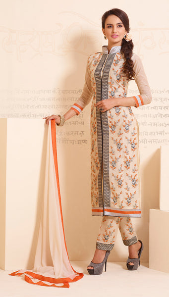 Designer Straight Cut:atisundar Attractive Cream Designer Straight Cut  - 8335 - click to zoom