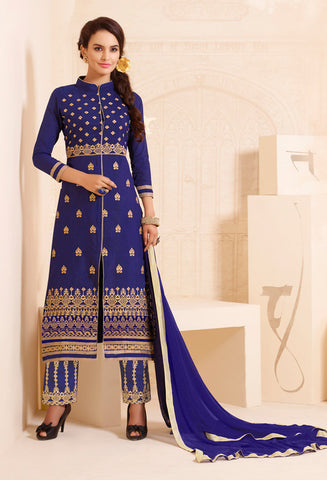 Designer Straight Cut:atisundar superb Blue Designer Straight Cut  - 8336 - atisundar - 2 - click to zoom