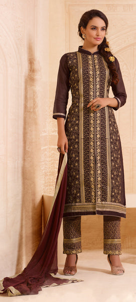Designer Straight Cut:atisundar excellent Brown Designer Straight Cut  - 8337 - atisundar - 2 - click to zoom