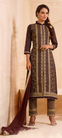 Designer Straight Cut:atisundar excellent Brown Designer Straight Cut  - 8337 - atisundar - 1 - click to zoom