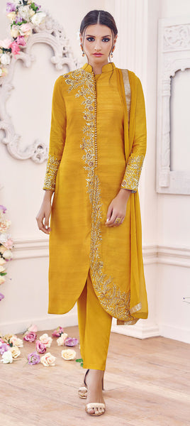 Designer Embroidered Straight Cut Suit:atisundar stunning Yellow Designer Straight Cut Embroidered Suits - 9648 - click to zoom