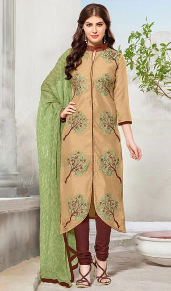 Designer Embroidered Straight Cut Suit:atisundar beauteous Beige Embroidered Straight Cut in Chanderi - 9761 - atisundar - 1 - click to zoom