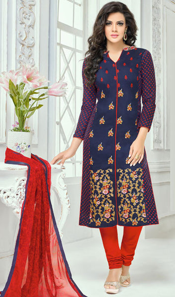Designer Straight Cut:atisundar magnificent Blue Designer Straight Cut Suit In Chanderi Cotton - 10194 - atisundar - 1 - click to zoom