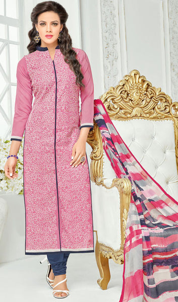Designer Straight Cut:atisundar magnificent Pink Designer Straight Cut Suit In Chanderi Cotton - 10203 - atisundar - 1 - click to zoom