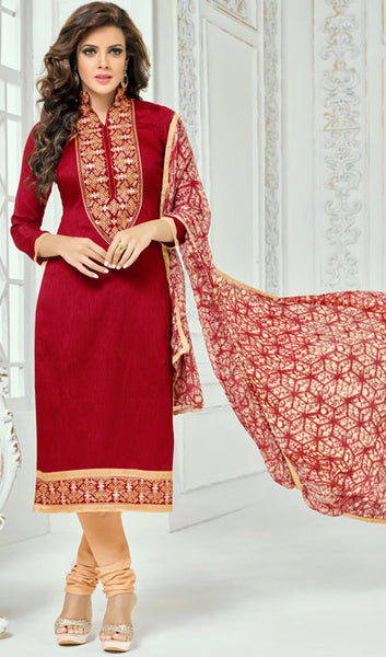 Designer Straight Cut:atisundar admirable Red Designer Straight Cut Suit In Chanderi Cotton - 10204 - atisundar - 1 - click to zoom